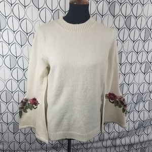 Floral Embroidered Bell sleeve Cream Sweater